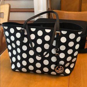 Michael Kors Black & White polka dot Tote purse